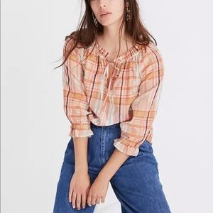 Madewell Orange Plaid Tie Neck Top Shirt Silk M